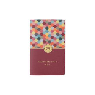 Monogram Geometric Modern Hexagon Notebook Pocket