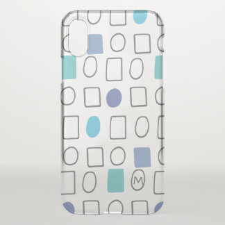 Monogram. Geometric Pattern. Circles & Squares. iPhone X Case