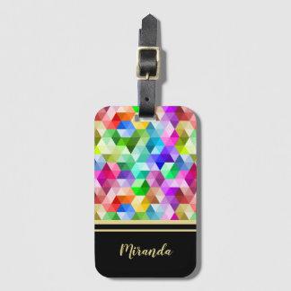 Monogram Geometric Rainbow Black Luggage Tag