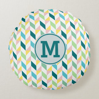 Monogram Geometric Triangle Pattern Teal Pink Mint Round Pillow