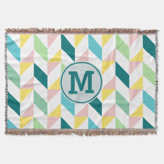 Monogram Geometric Triangle Pattern Teal Pink Mint Throw Blanket
