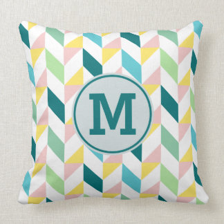 Monogram Geometric Triangle Pattern Teal Pink Mint Throw Pillow