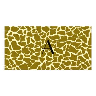 Monogram giraffe print photo card