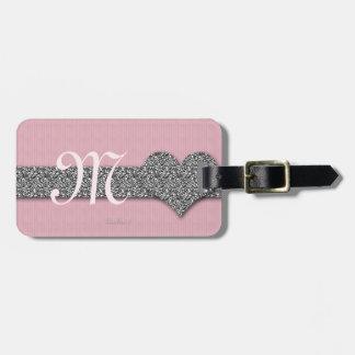 Monogram Girly Girl, Pink Bling Luggage Tag