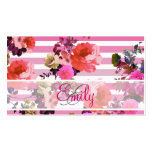 Monogram Girly Pink Floral Pattern Ombre Stripes Business Cards