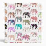 Monogram Girly Retro Floral Elephants Pattern Vinyl Binder