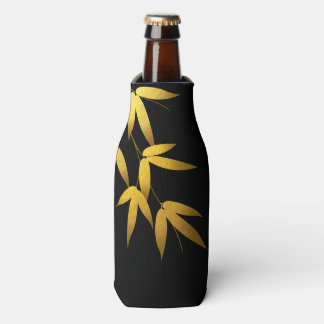Monogram Glam Bamboo Leaves Gold Foil | black Bottle Cooler