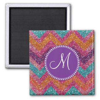 Monogram Glitter Chevron Pink Purple Orange Teal Square Magnet