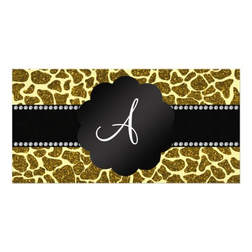Monogram glitter giraffe print photo card template