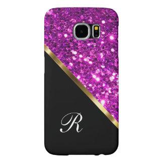 Monogram Glitter Style Samsung Galaxy S6 Cases