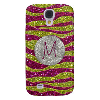 Monogram Glitters Yellow Pink Zebra Stripes