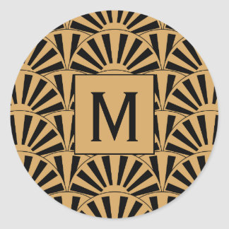 Monogram Gold and Black Art Deco Fan Flowers Motif Classic Round Sticker