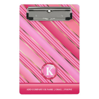 Monogram Gold and Pink Cotton Candy Mini Clipboard
