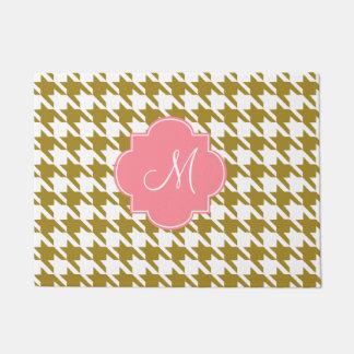 Monogram Gold and Pink Houndstooth Pattern Doormat