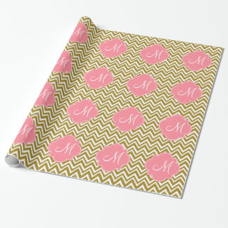 Monogram Gold and White Chevron Pattern with Pink Wrapping Paper