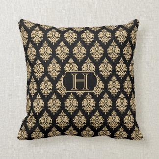 Monogram,Gold,Black,Damask Pattern Throw Pillow