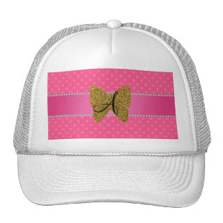 Monogram gold butterfly pink polka dots hat