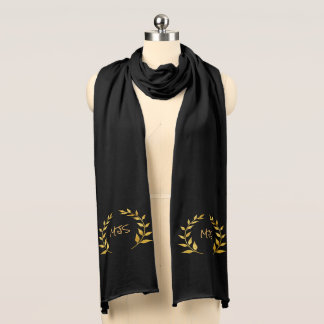 Monogram Gold Circle of Leaves Scarf