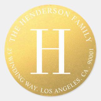 Monogram Gold Circular Return Address Label