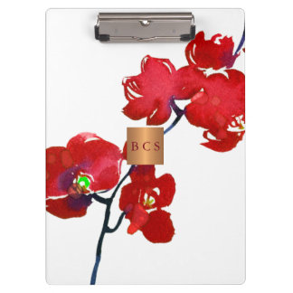 Monogram gold copper metallic coral red floral clipboard