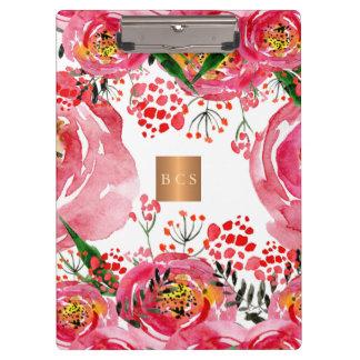 Monogram gold copper metallic pink white floral clipboard