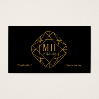 Monogram Gold Diamond Business Cards