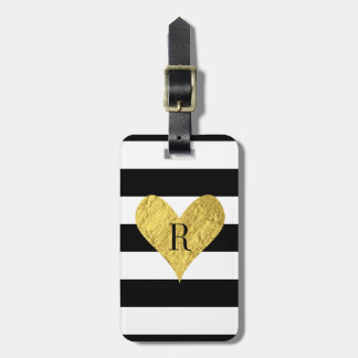 Monogram Gold Foil Heart Luggage Tag