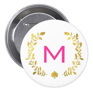 Monogram Gold Foil Laurel & Spade 3 Inch Round Button
