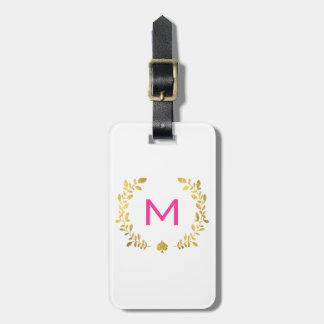 Monogram Gold Foil Laurel & Spade Bag Tag