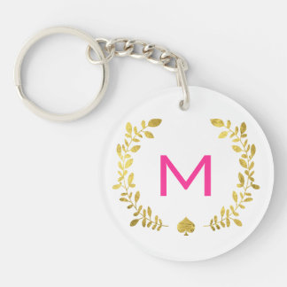 Monogram Gold Foil Laurel & Spade - Circle Double-Sided Round Acrylic Keychain