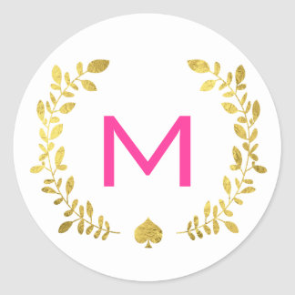 Monogram Gold Foil Laurel & Spade Classic Round Sticker