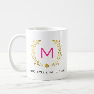 Monogram Gold Foil Laurel & Spade Coffee Mug