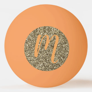 Monogram Gold Glitter Look Ping Pong Ball Elegant