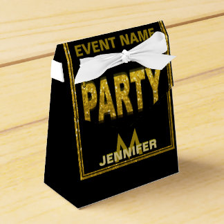 Monogram | Gold Glitter Party Favor Box