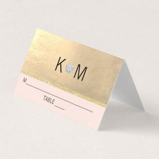 Monogram Gold Heart Diamond Blush Pink Wedding Place Card