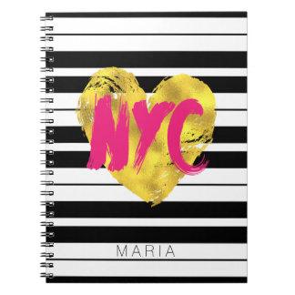 Monogram, Gold Heart, NYC Note Books