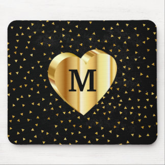 Monogram Gold Heart on Black and Gold Mouse Pad