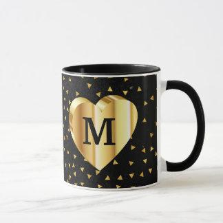 Monogram Gold Heart on Black and Gold Mug