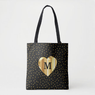 Monogram Gold Heart on Black and Gold Tote Bag