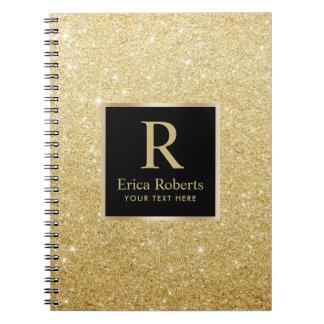 Monogram Gold Initial Modern Faux Gold Glitter Spiral Notebook