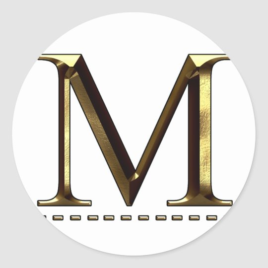 Monogram gold letter M Your Sticker