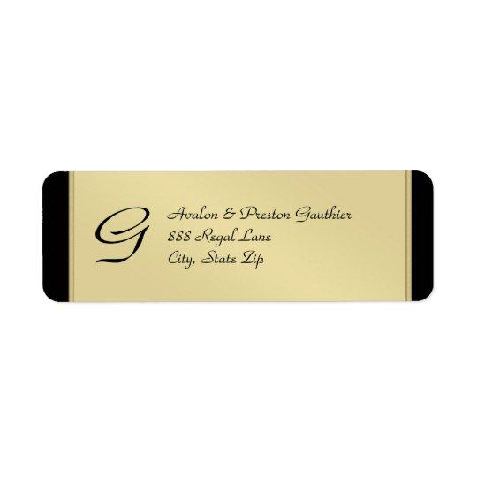 Monogram Gold Metal Black Wedding Address Label
