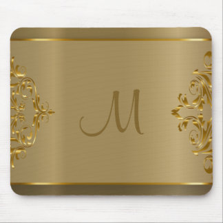 Monogram Gold Orante Design Mouse Pad