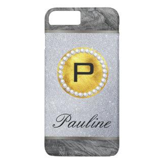 Monogram Gold Pearl Wood Glitter iPhone 8 Plus/7 Plus Case