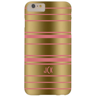 Monogram  Gold & Pink Stripes Modern Design Barely There iPhone 6 Plus Case