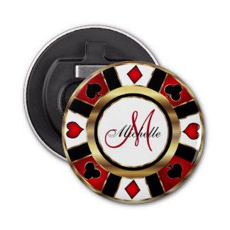 Monogram Gold Poker Chip Design Bottle Opener