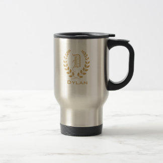 Monogram gold travel mug