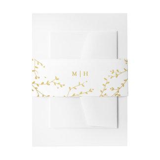 Monogram Gold Vines & Leaves Garden Envelope Bands Invitation Belly Band
