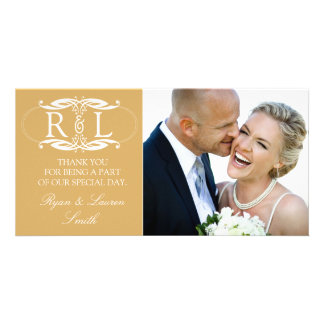 Monogram Gold Wedding Photo Thank You Cards Picture Card