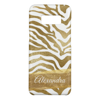 Monogram Gold & White Animal Print Case-Mate Samsung Galaxy S8 Case